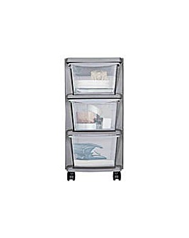 3 Drawer Slim Plastic Storage - Silver