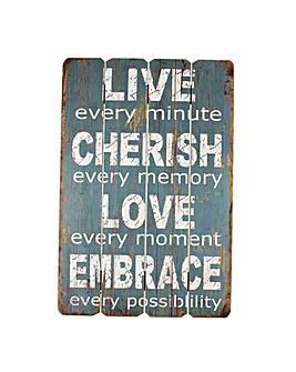 Wooden Live Cherish Love Wall Plaque