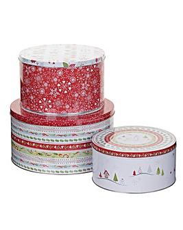 Christmas Wish Set Of Three Cake Tins