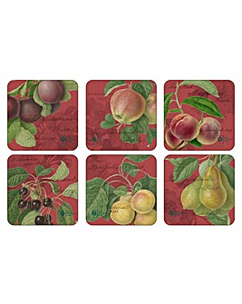Pimpernel Hooker Fruits Red Coasters