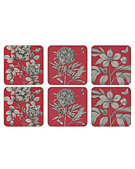 Pimpernel Etchings & Roses Red Coasters