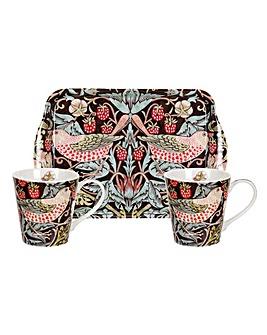 Strawberry Thief Brown Mug & Tray Set