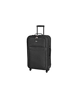 Medium 4 Wheel Soft Suitcase - Black