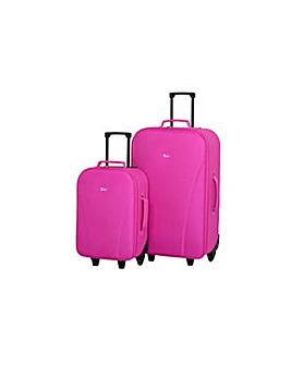 2 Piece Wheeled Luggage Set - Pink