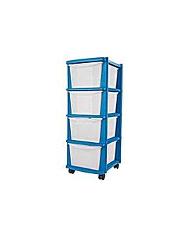 4 Drawer Plastic Storage Tower - Blue.