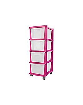 4 Drawer Plastic Storage Tower - Pink.