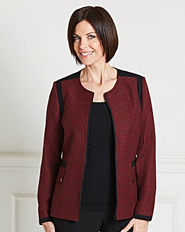 Collarless Check Jacket