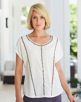 Nightingales Stud Front Blouse