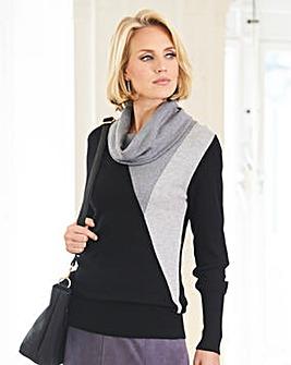 Nightingales Intarsia Cowl Neck Sweater