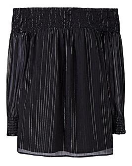 Black Metallic Yarn Crinkle Bardot