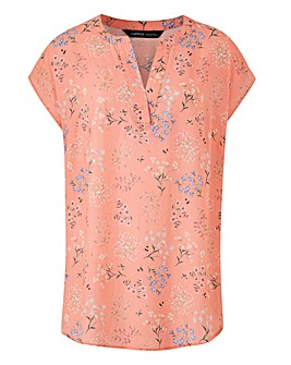 Pink Print V Neck Ladder Insert Top