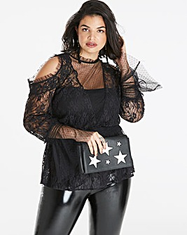 Black Cold Shoulder Peplum Lace Blouse