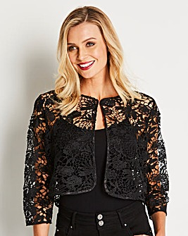 Black Cropped Lace Shrug