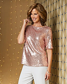 Champagne All Over Sequin Top