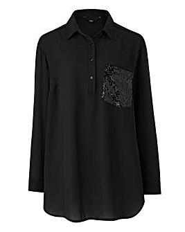 Black Oversized Shirt With Sequin Pocket