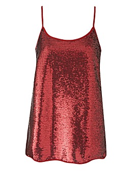 Claret All Over Sequin Camisole Top