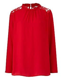 Red Frill Neck Lace Yoke Blouse