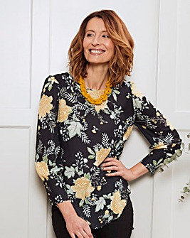 Black Print Deep Cuff Long Sleeve Blouse