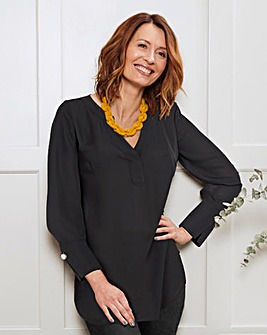 Black Oversized Shirt with Pearl Trim