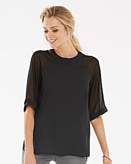Black Mesh Sleeve Tunic With Side Splits