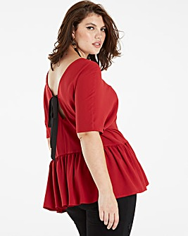 Dark Red Soft Peplum Top With Bow Back