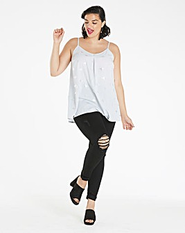 Grey/Silver Foil Print Strappy Cami Top