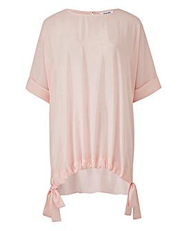Pink Gathered Tie Hem Blouse