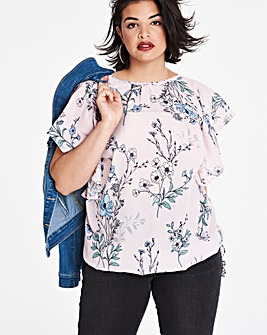 Pink Floral Bubble Hem Blouse