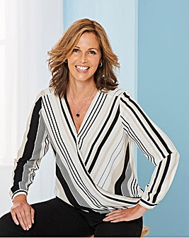 Black And White Stripe Wrap Blouse