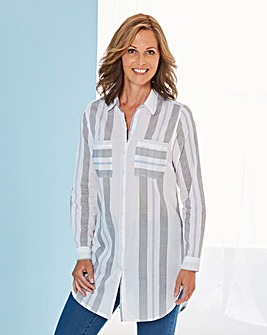 Ivory Stripe Tunic Shirt With Curved Hem