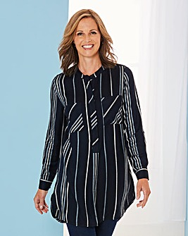 Navy Stripe Viscose Longline Shirt