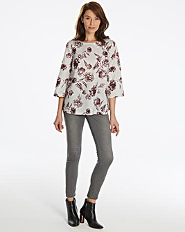 Soft Grey Based Print Top With V Back