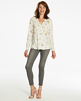 Ivory Floral Wrap Blouse