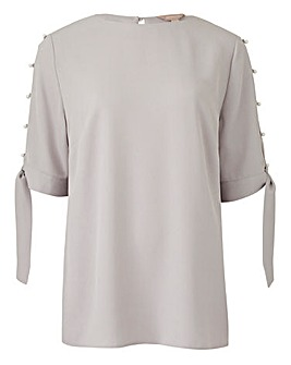 Pale Grey Pearl Trim Tie Sleeve Top