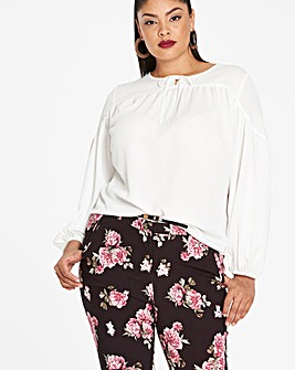 Ivory Peasant Sleeve Detailed Top