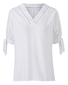 White V Neck Ladder Trim Blouse