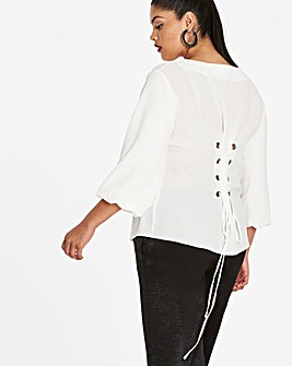 Ivory Balloon Sleeve CorsetDetail Blouse