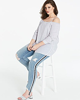 Washed Grey Button Through Bardot Shirt