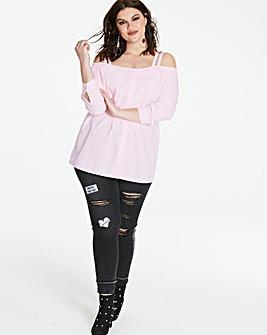 Ballet Pink Button Through Bardot Shirt