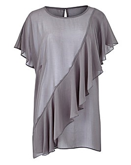 Grey Short Sleeve Ruffle Front Blouse