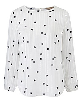 Ivory Spot Elasticated Cuff Shell Top