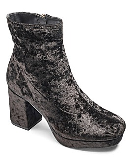 Truffle Velvet Ankle Boot D Fit