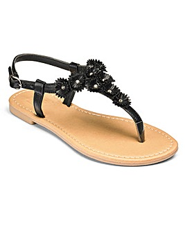 Sole Diva Flower Trim Sandals EEE Fit