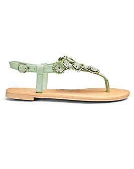 Sole Diva Flower Trim Sandals E Fit