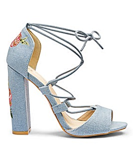 Glamorous Denim Embroidered Sandal