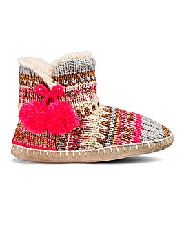 Multi Knit Boot Slipper