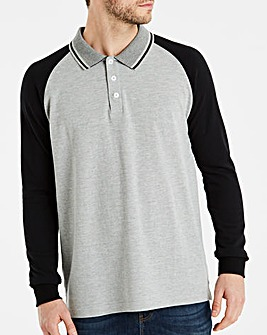 Jacamo Long Sleeve Raglan Polo Long