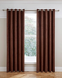 Faux Suede Lined Eyelet Curtains