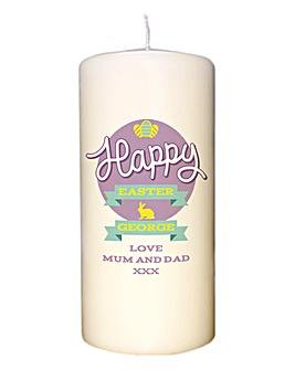 Personalised Yellow Easter Pillar Candle