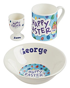 Personalised Blue Easter Breakfast Set